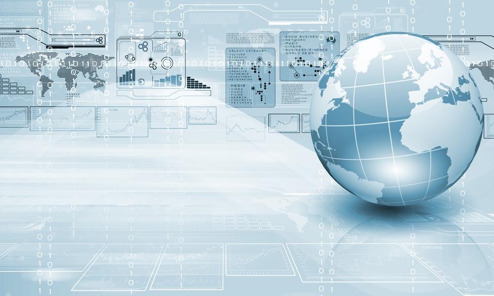 Blue globe on a digital IT infrastruture background