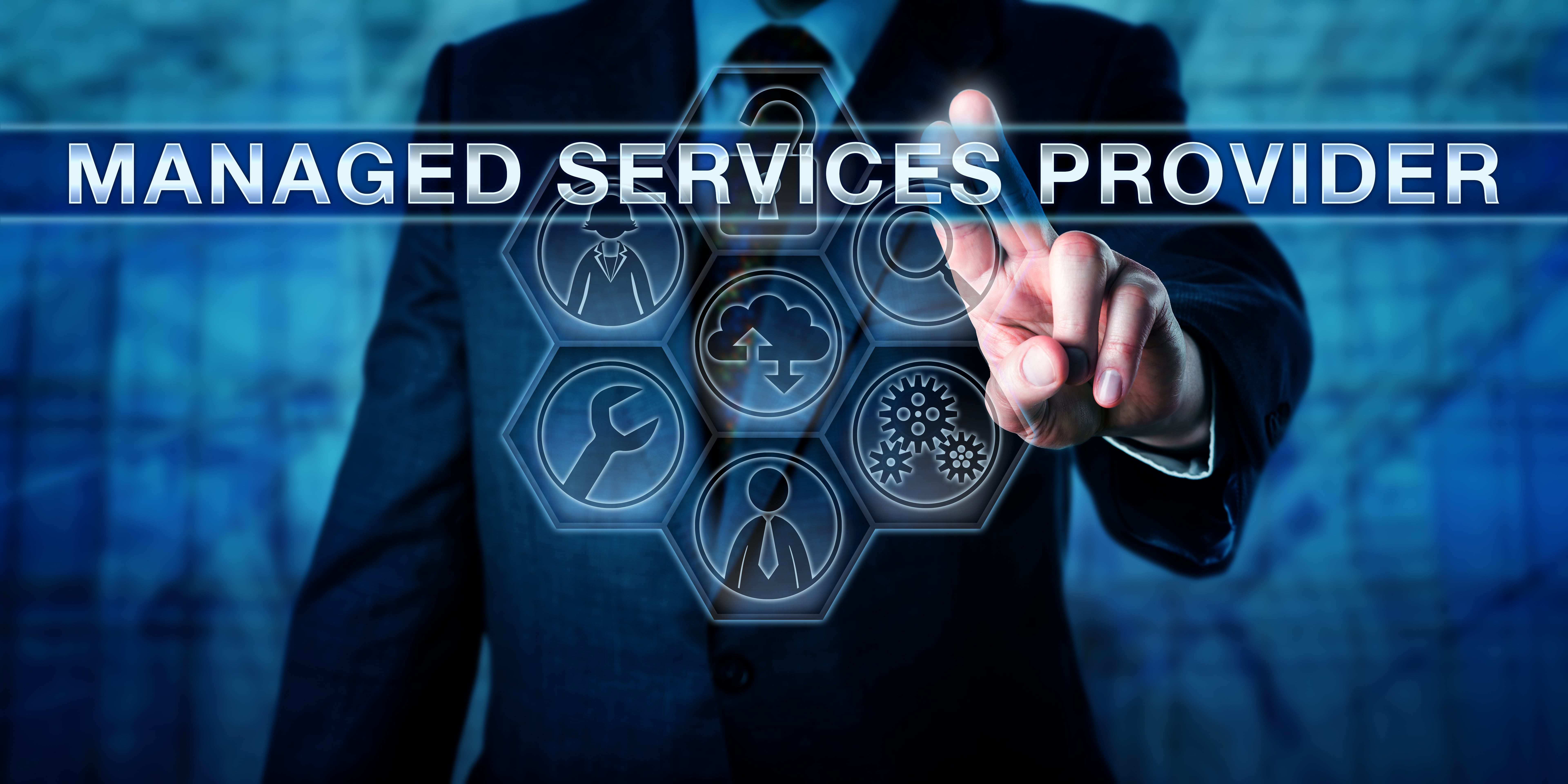 Person pointing towards a MSP managed services provider