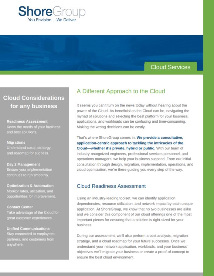 ShoreGroup Cloud Services Brochure Cover