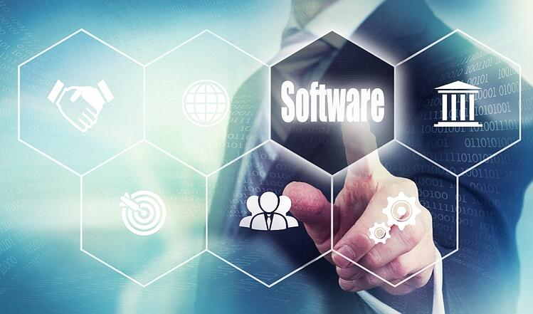 Businessman selecting software on screen collaboration