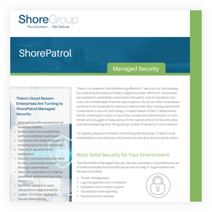 shorepatrol managed security datasheet cover
